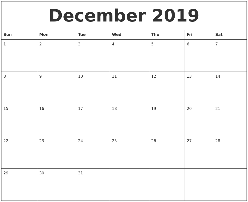 Blank Calendar December 2019