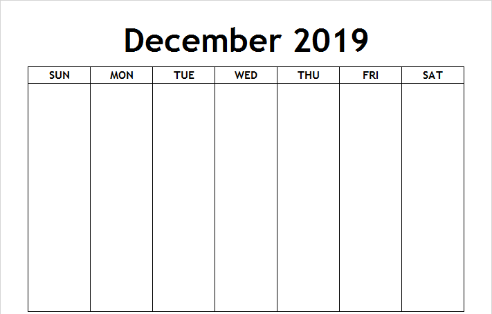 Blank Calendar December 2019 Template