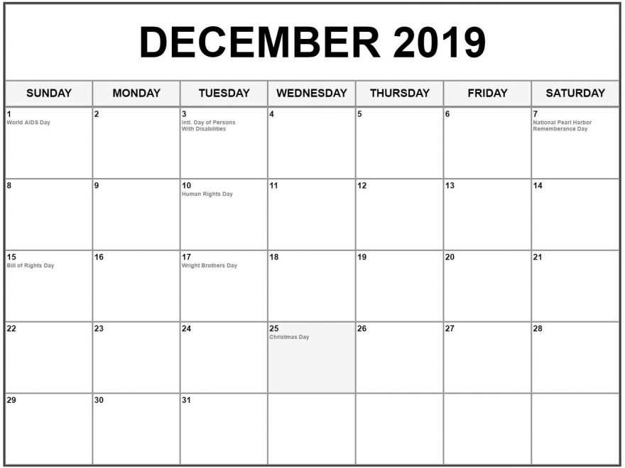 December 2019 Holidays Calendar Printable