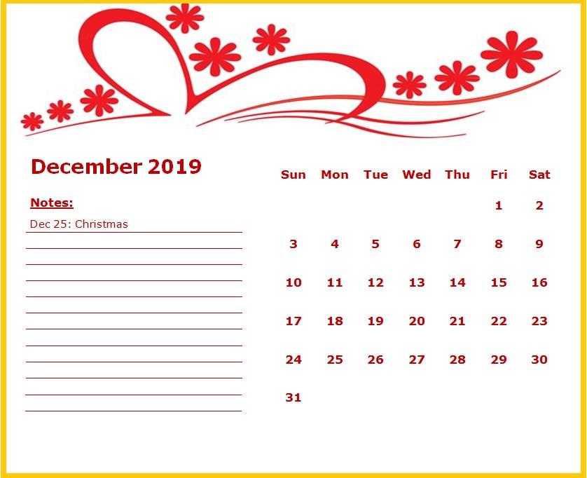 Cute December 2019 Calendar Floral Design