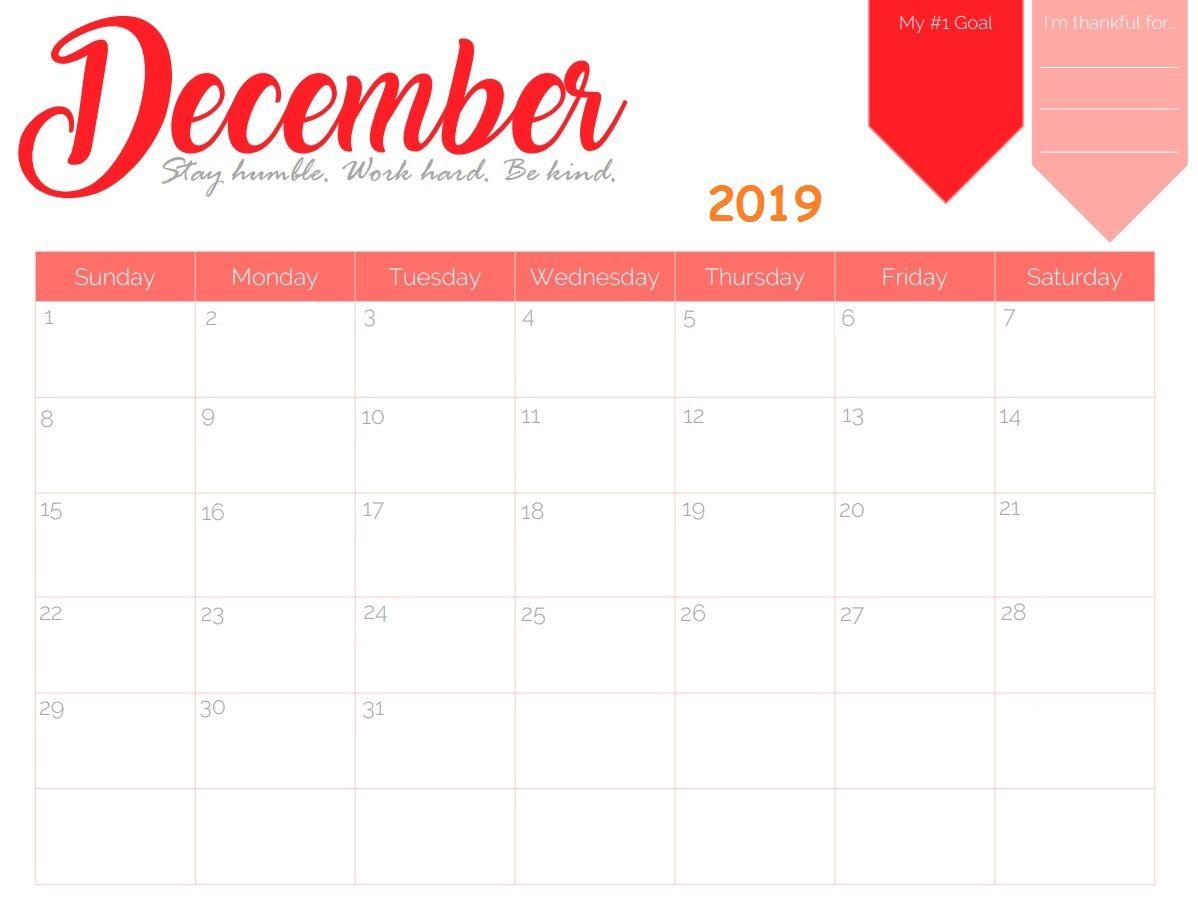 December 2019 Blank Calendar