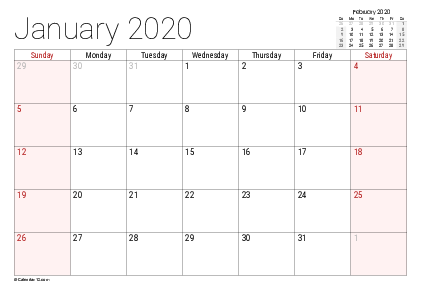 Free Monthly January 2020 Calendar Download