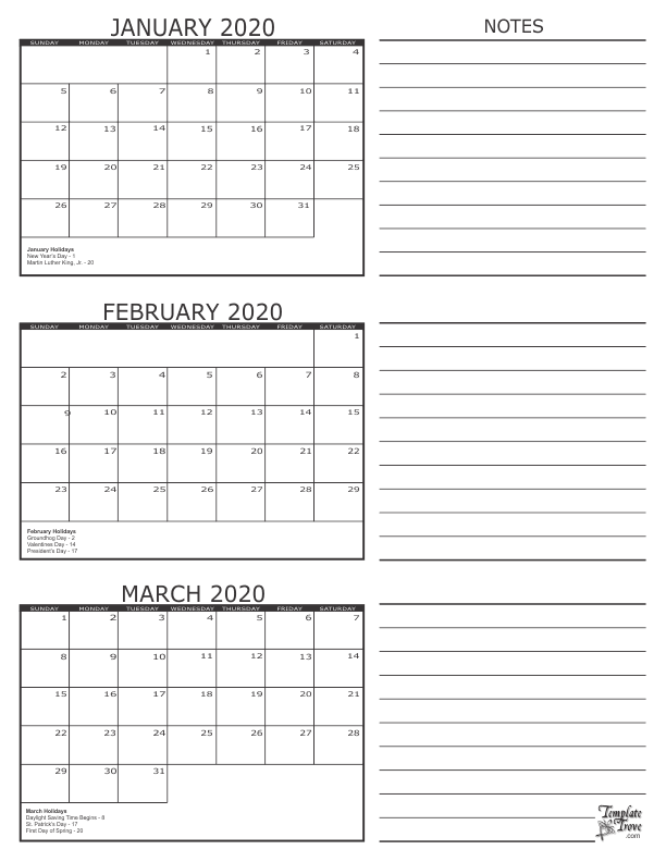 3 Month Calendar 2020 January February March