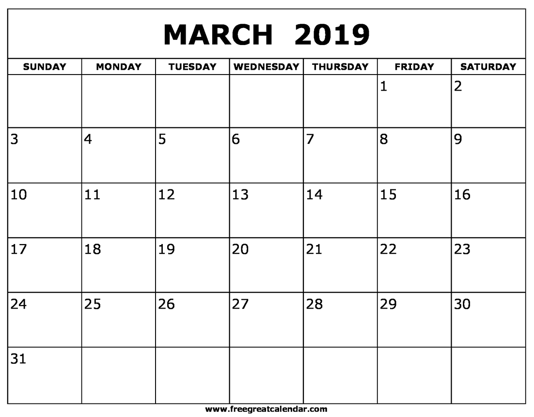 Calendar for March 2019