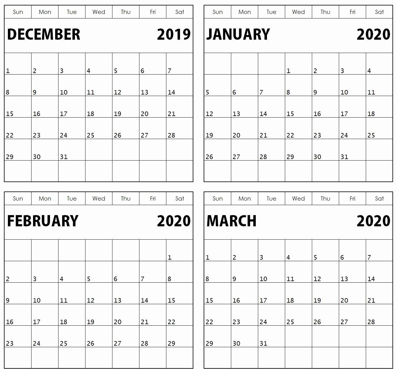 December January February 2020 Calendar