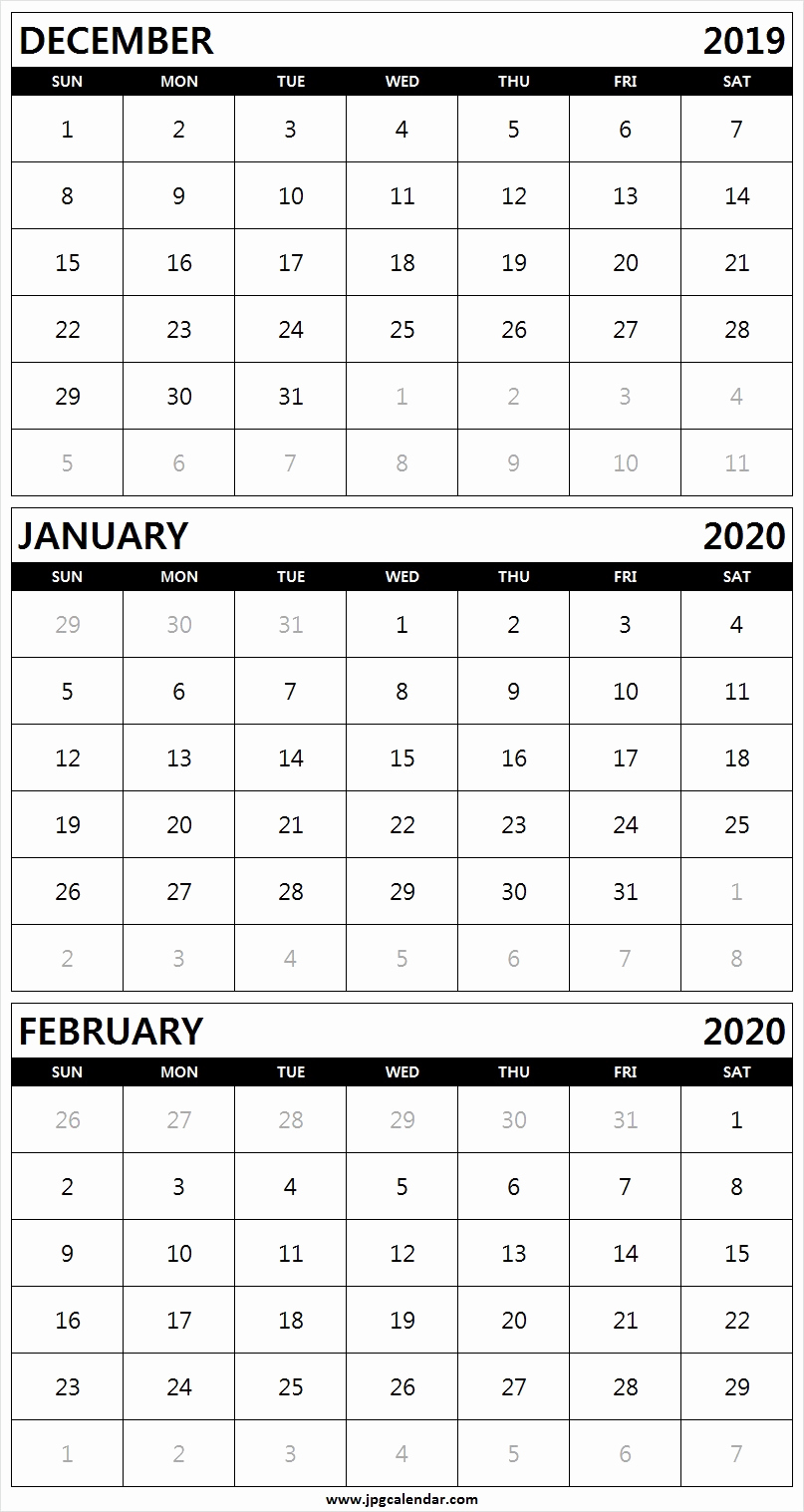 February 2020 Printable Calendar Cute.December January February 2020 Calendar Printable Free Download