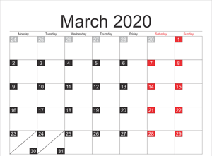 Download Fillable March 2020 Calendar