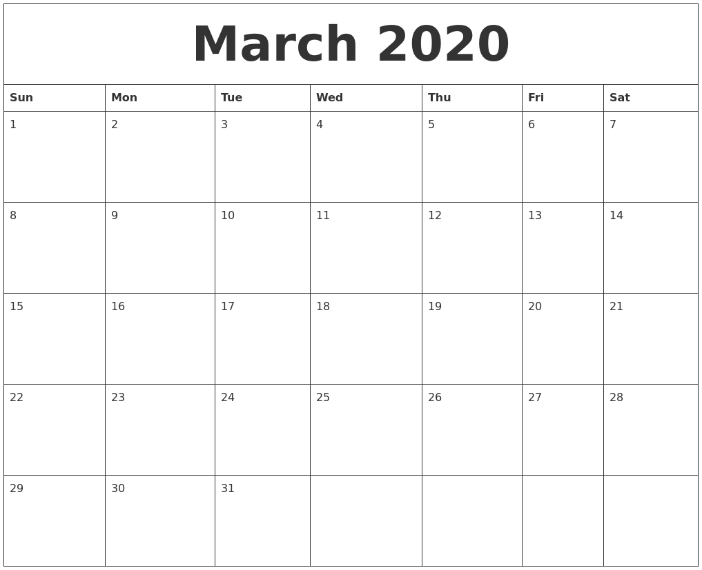 Editable March 2020 Printable Calendar Template