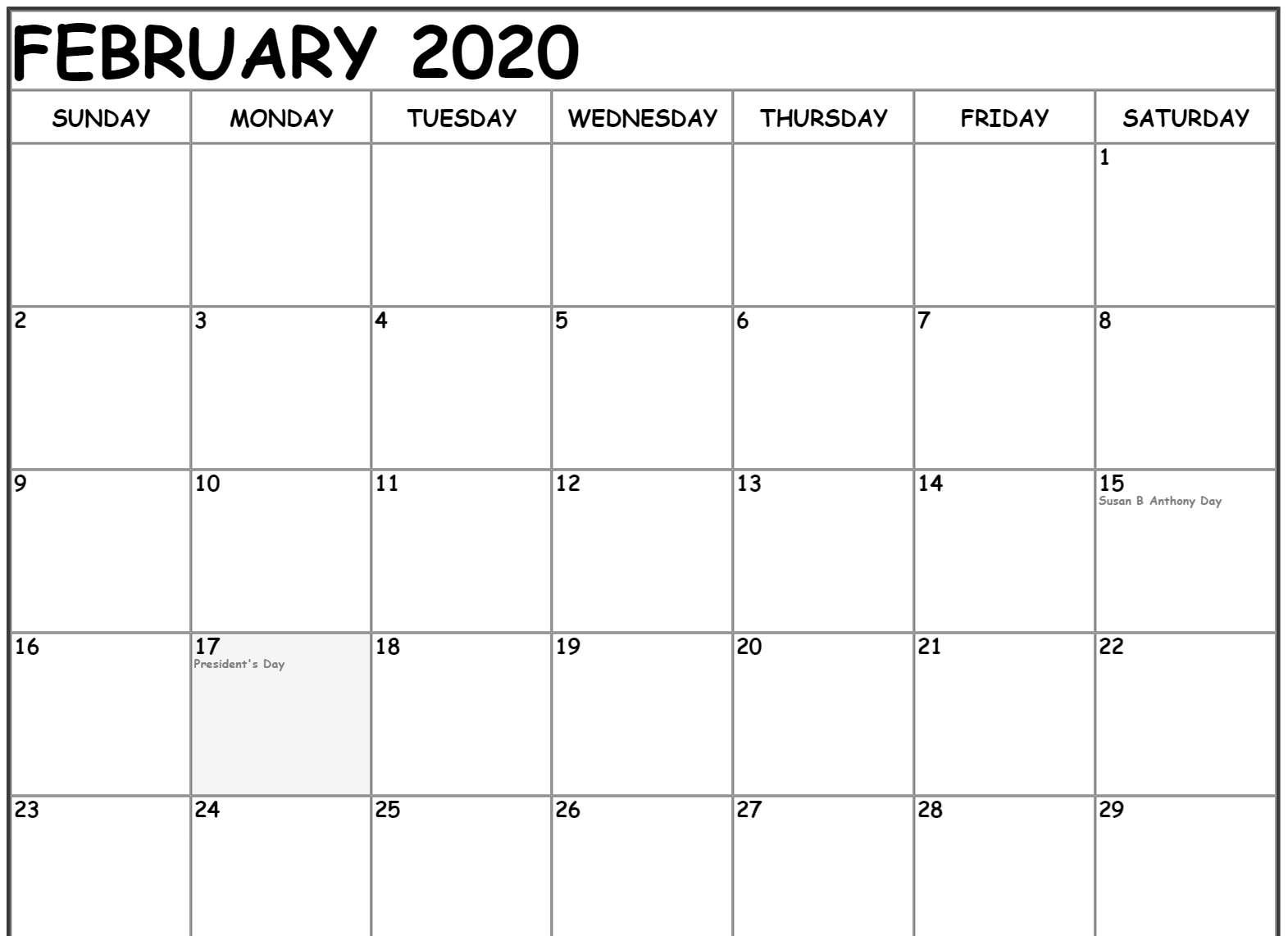 February 2020 Calendar Holidays