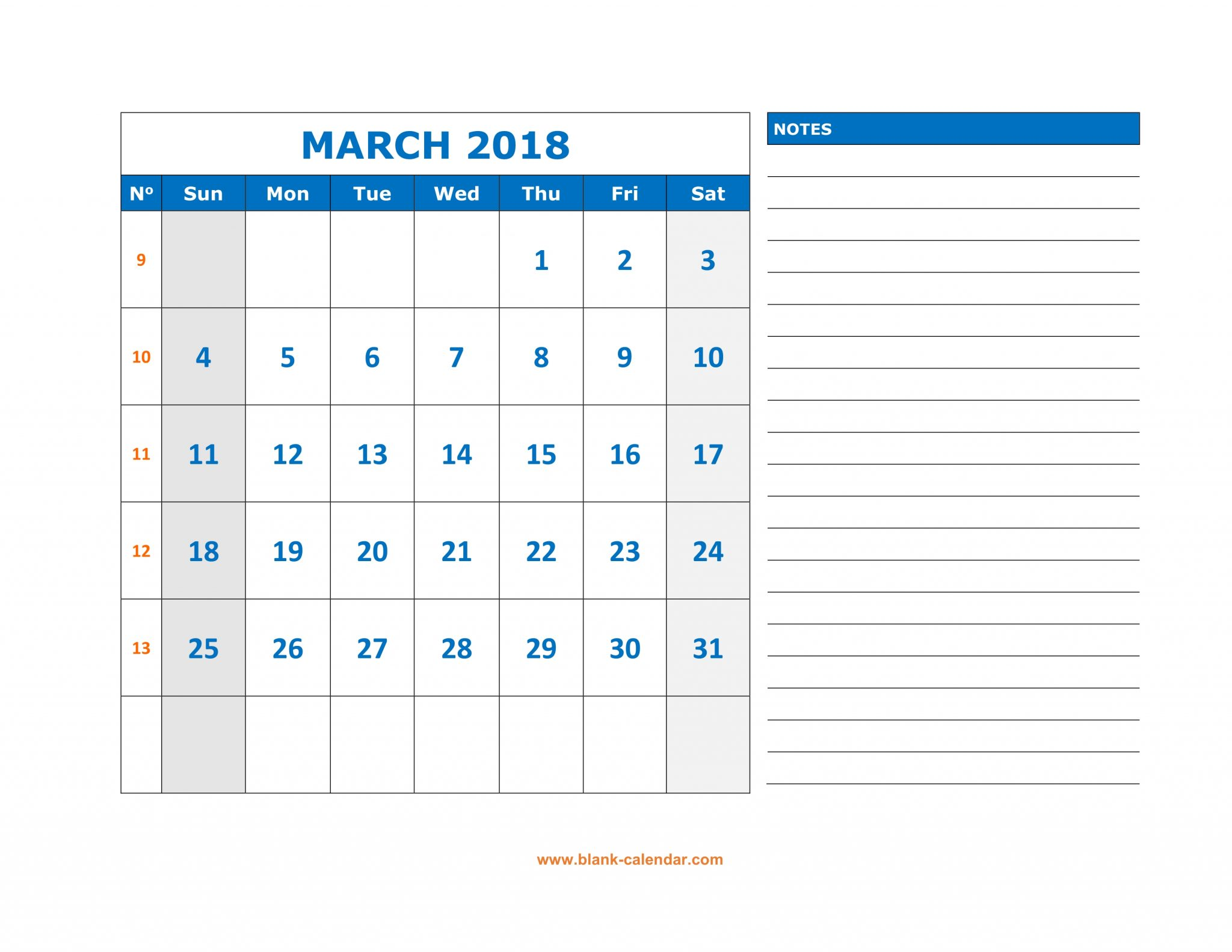 March 2019 Fillable Calendar with Large Space