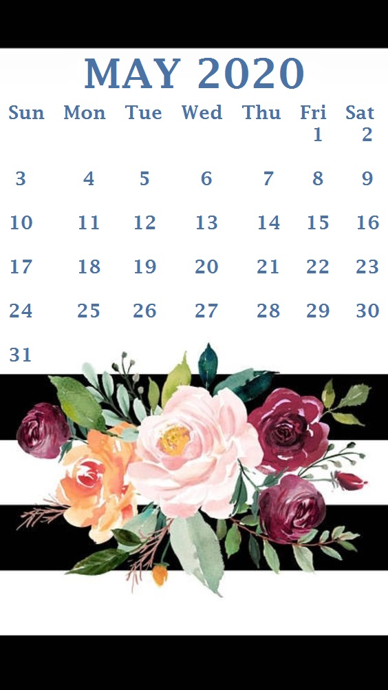 Cute May 2020 Calendar Floral Wall Calendar Design – May