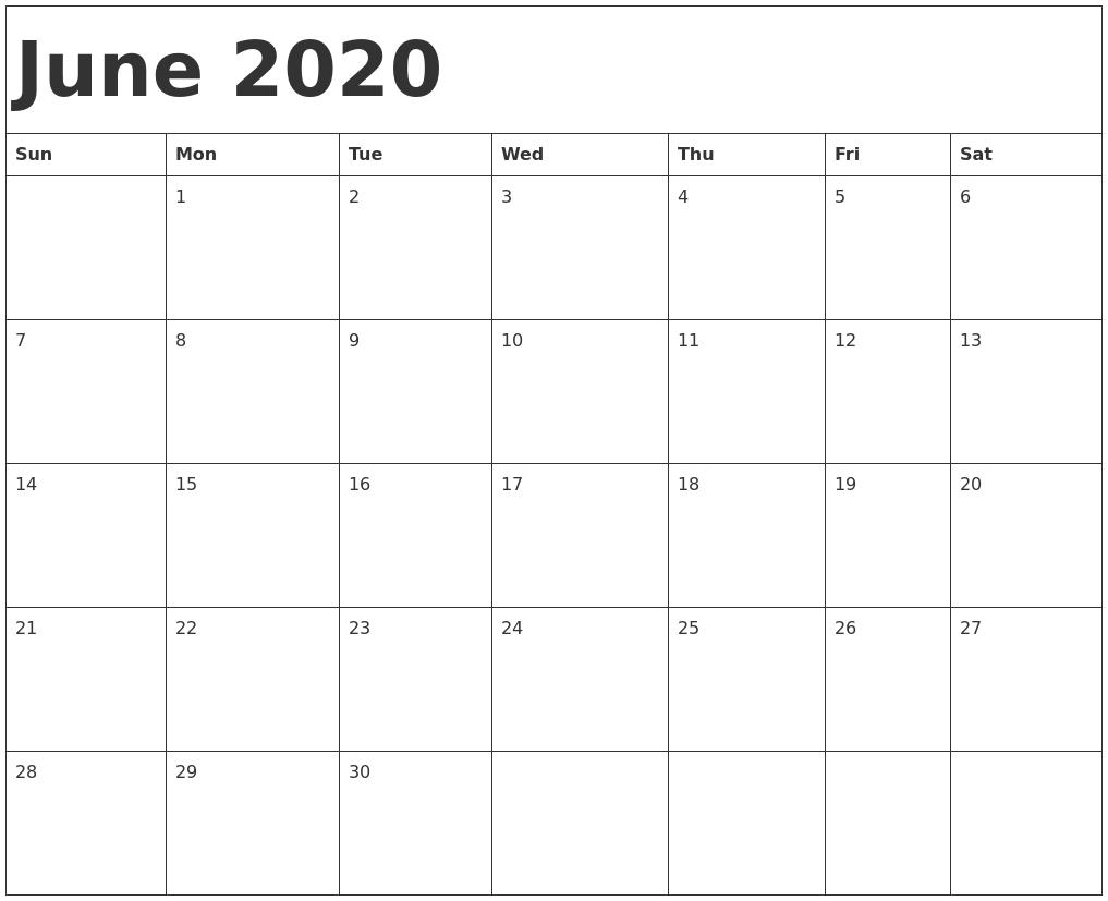 Free June 2020 Calendar Download