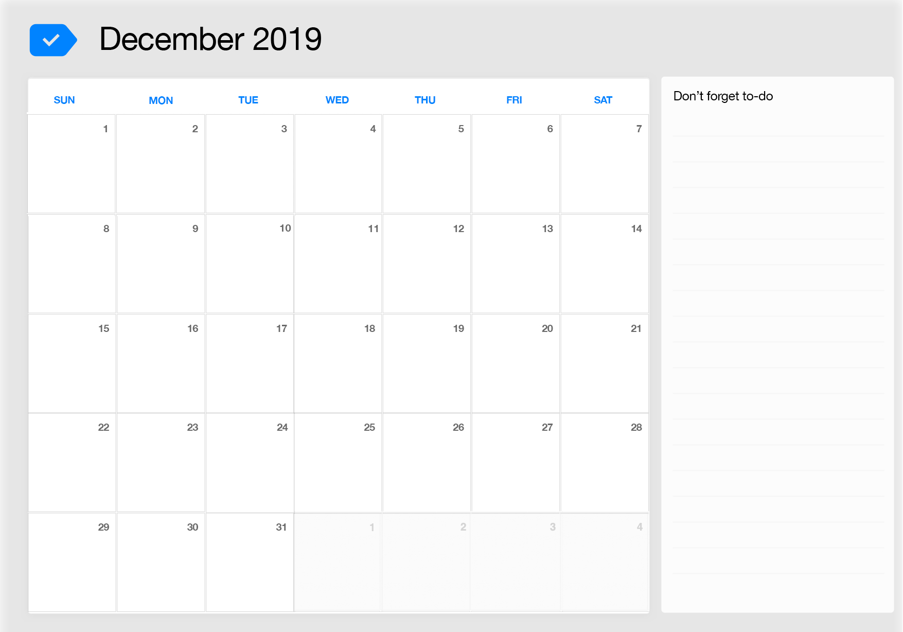 photograph regarding Printable Monthly Calendar Dec called ✅ No cost Regular monthly Blank December 2019 Calendar Printable