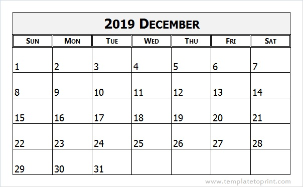 Dec 2019 Calendar Printable Template