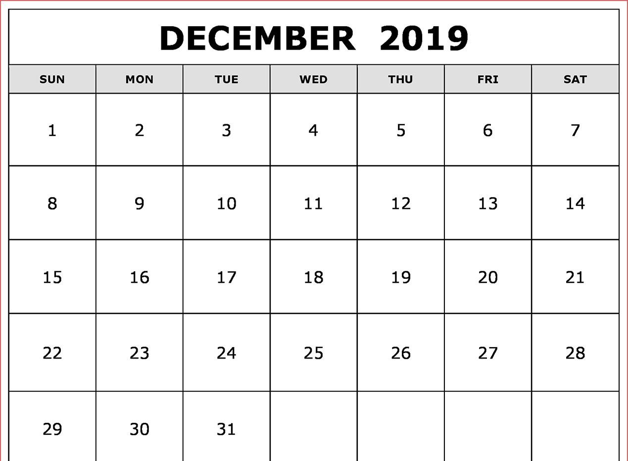 dec 2019 calendar printable