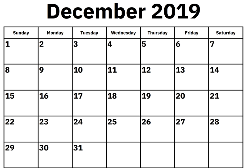 picture about Printable Monthly Calendar December titled ✅ Totally free Regular Blank December 2019 Calendar Printable