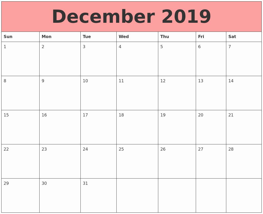 December 2019 Calendar Landscape