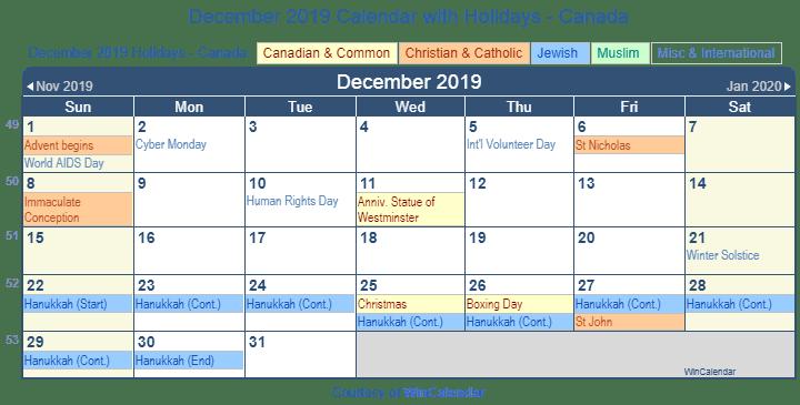 December 2019 Calendar canada