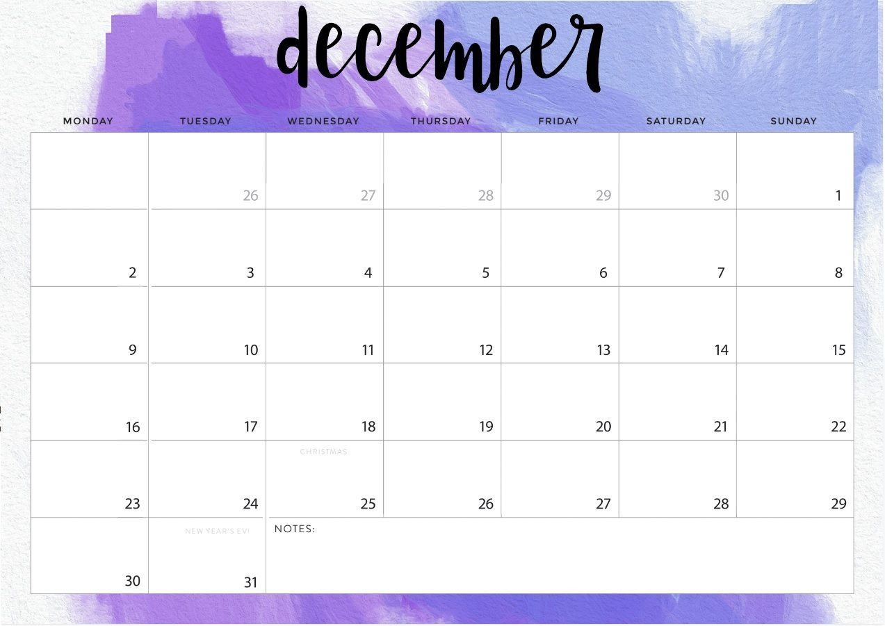 Decorative December 2019 Calendar Template