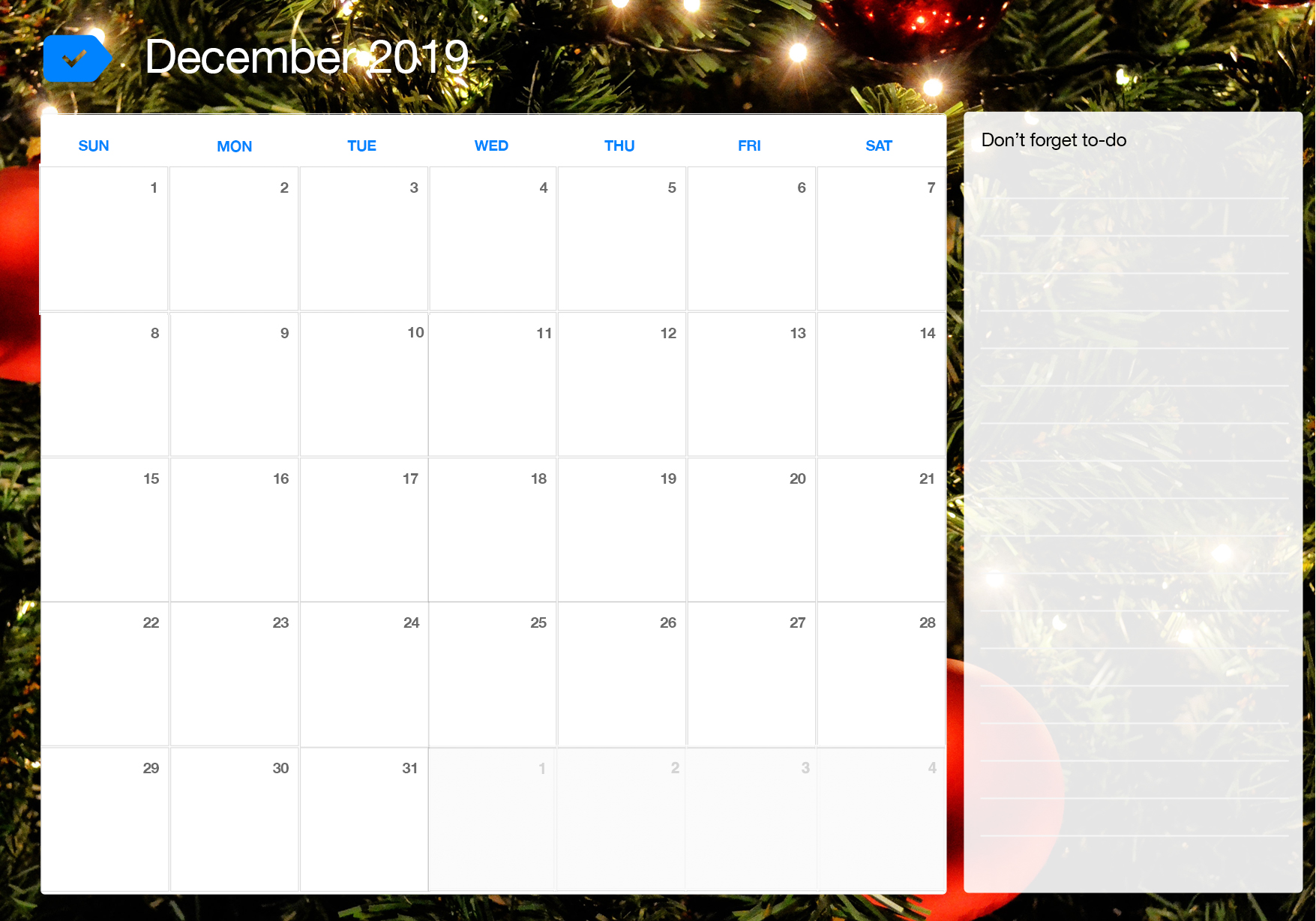 picture regarding December Calendar Printable With Holidays titled ✅ No cost Month to month Blank December 2019 Calendar Printable
