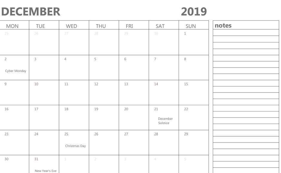 december 2019 editable calendar with notes
