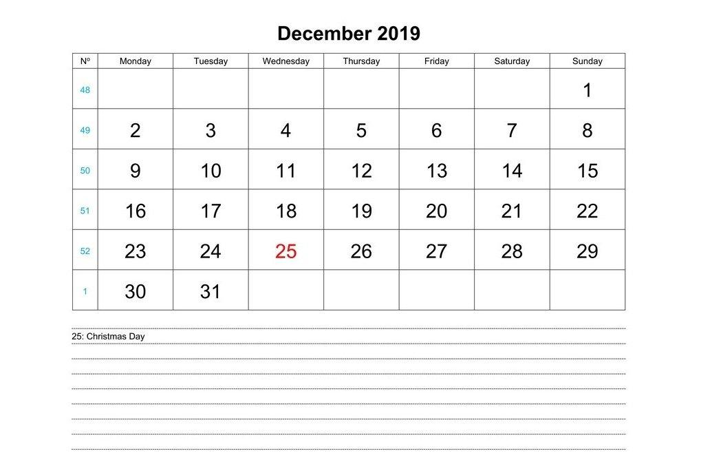 december 2019 notes calendar