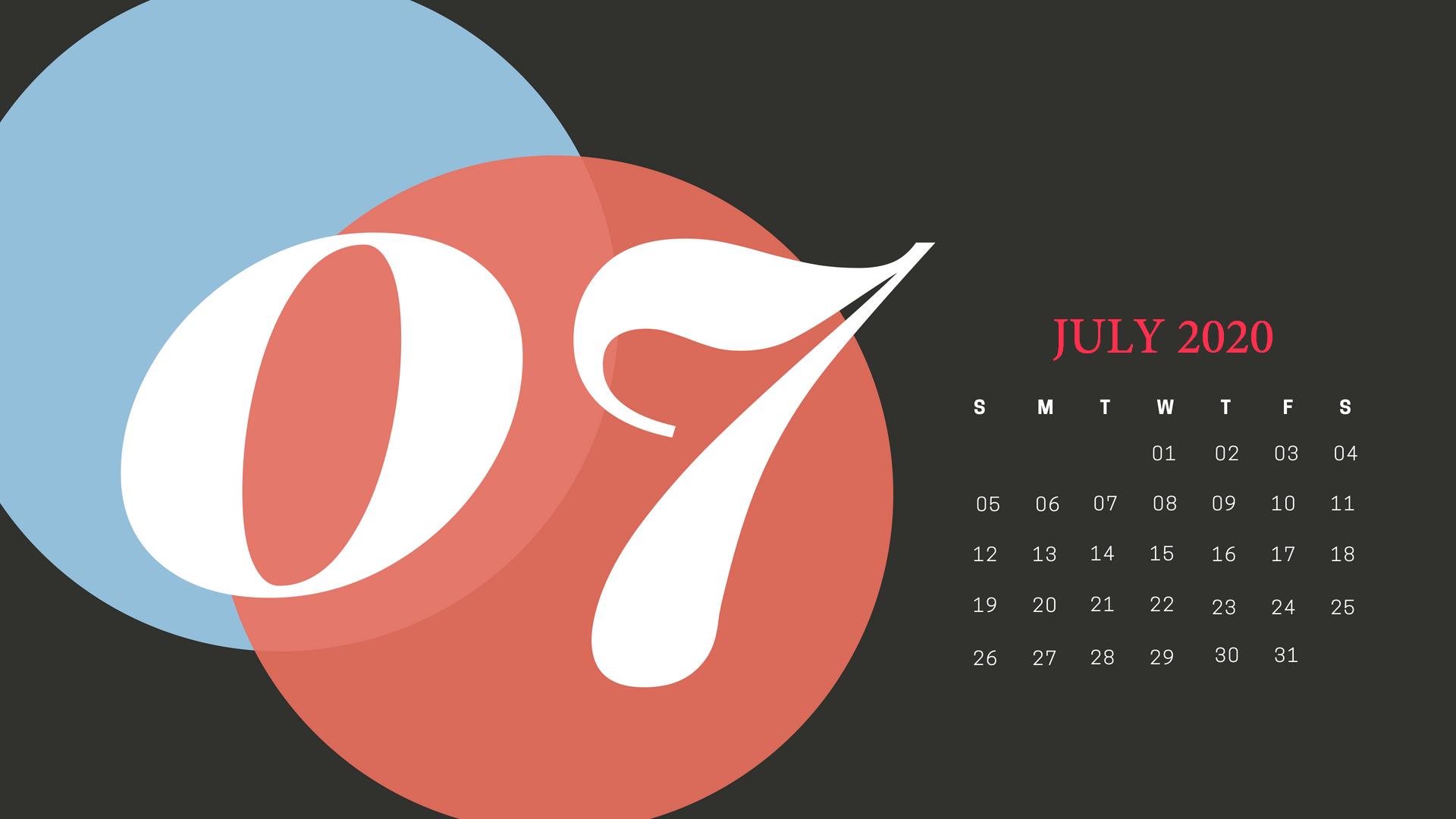 Cute July 2020 Desktop Calendar Wallpaper