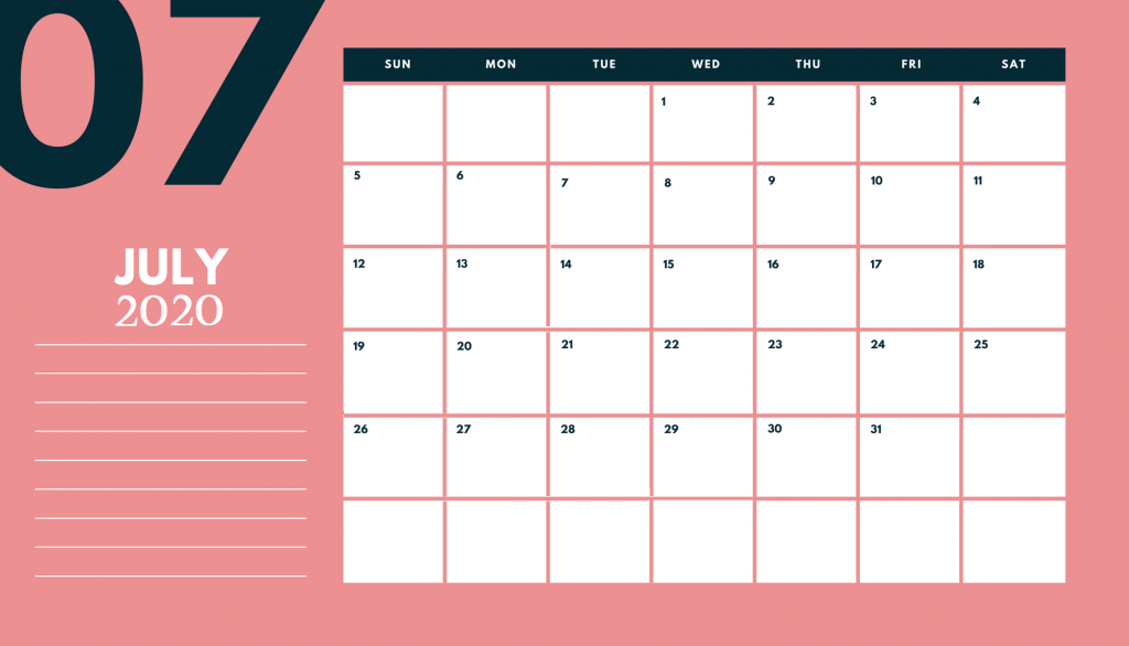 Desk Calendar July 2020