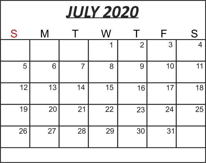 Editable July 2020 Blank Calendar
