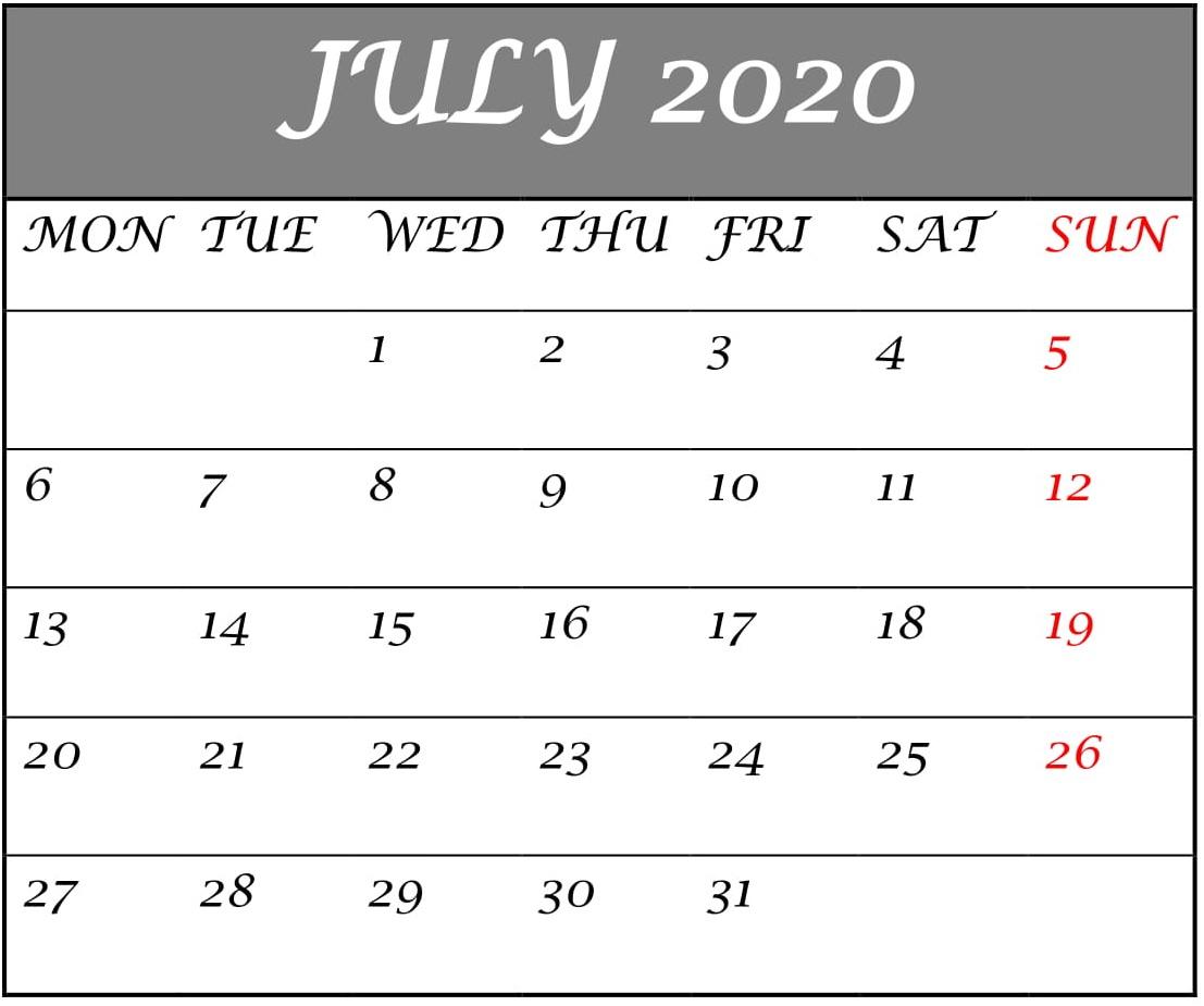 July 2020 Planning Calendar Template