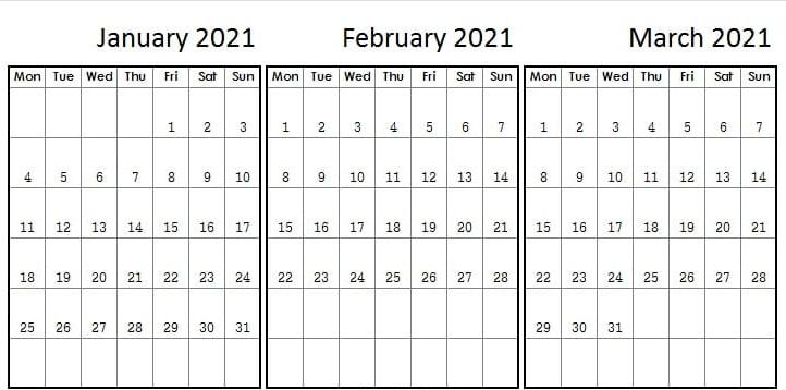 {Free} January February March 2021 Calendar Printable ...