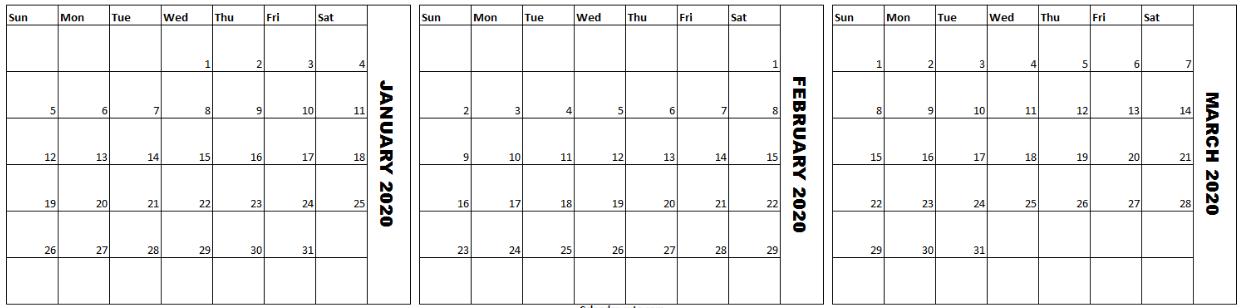 January February March 2020 Printable Calendar