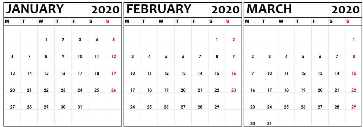 Printable January February March 2020 Calendar