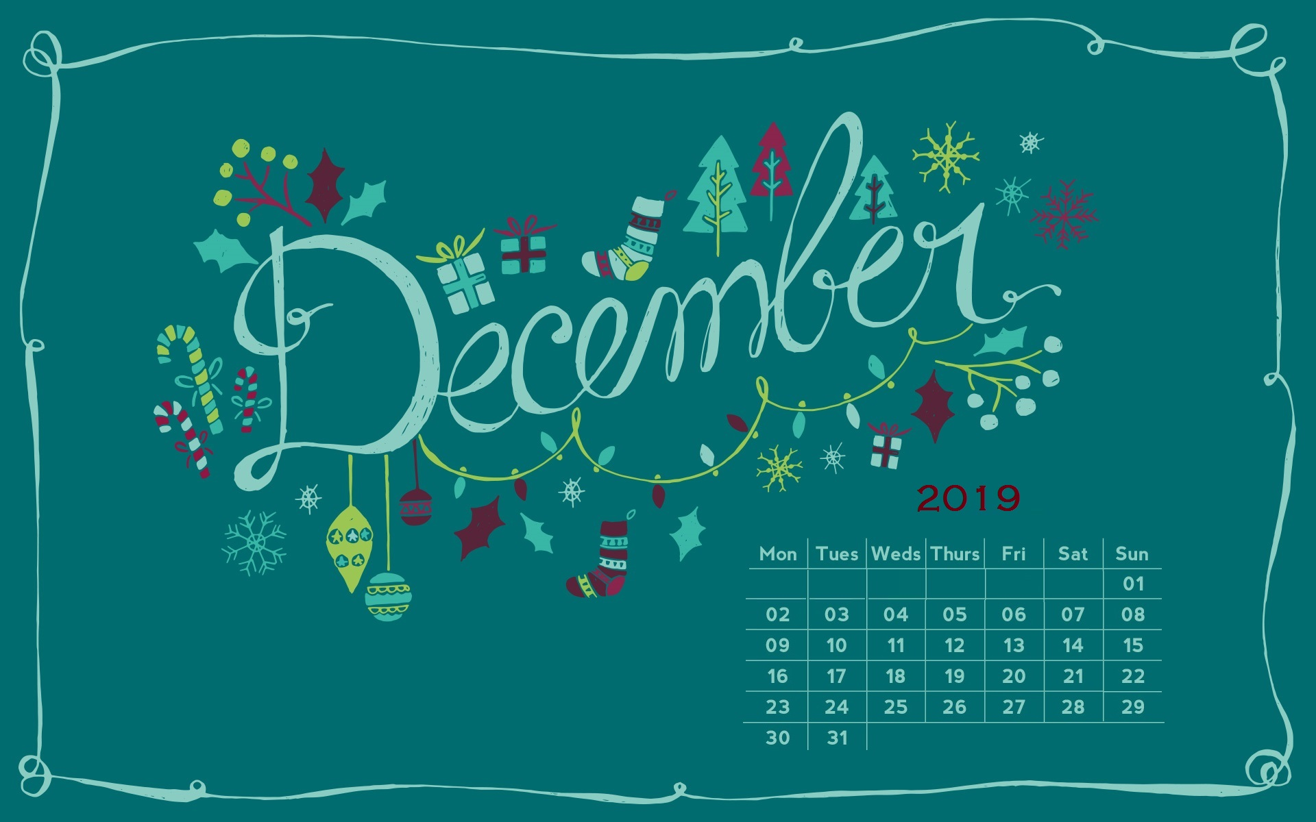 December 2019 Screensaver Background Wallpaper