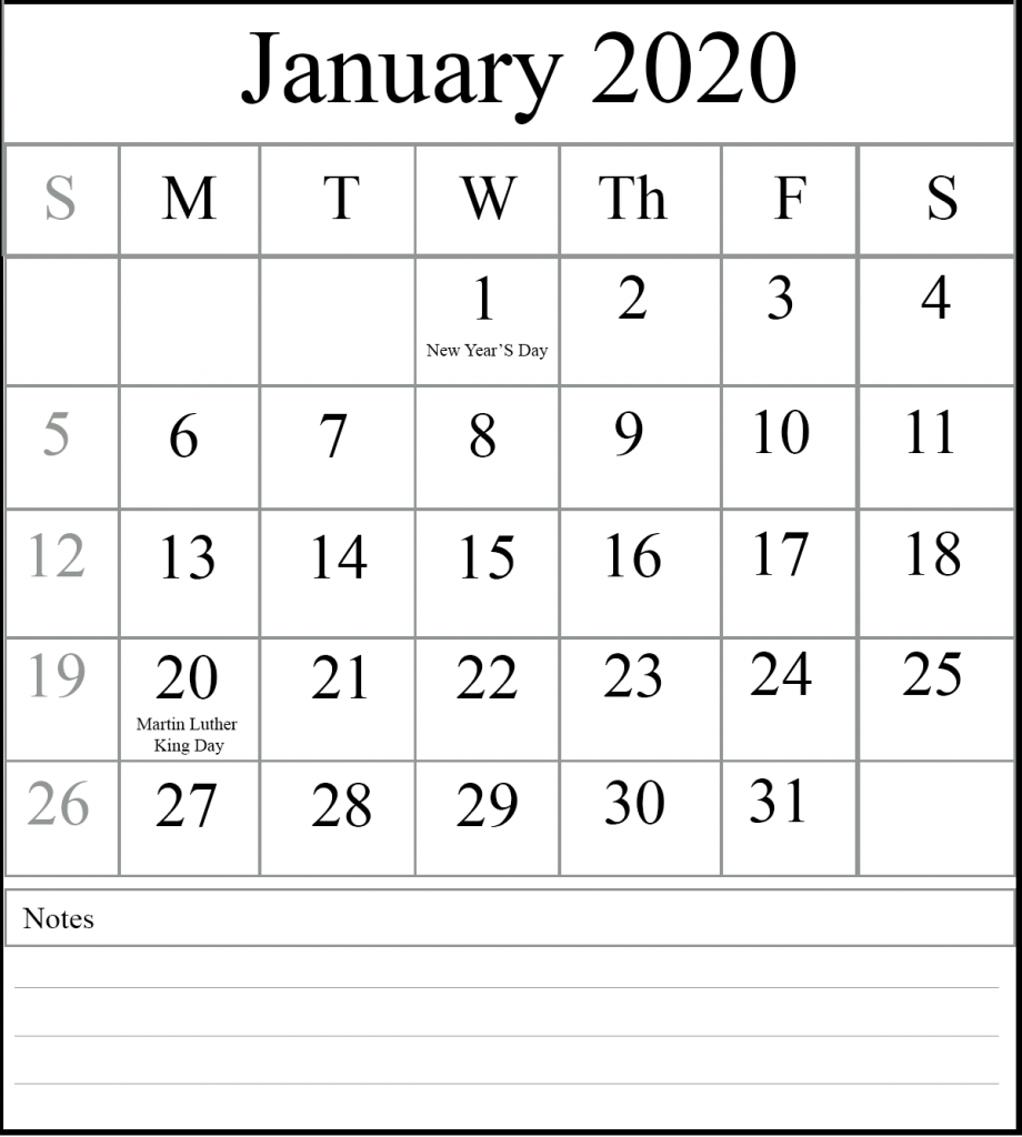 2020 January Calendar with Holidays