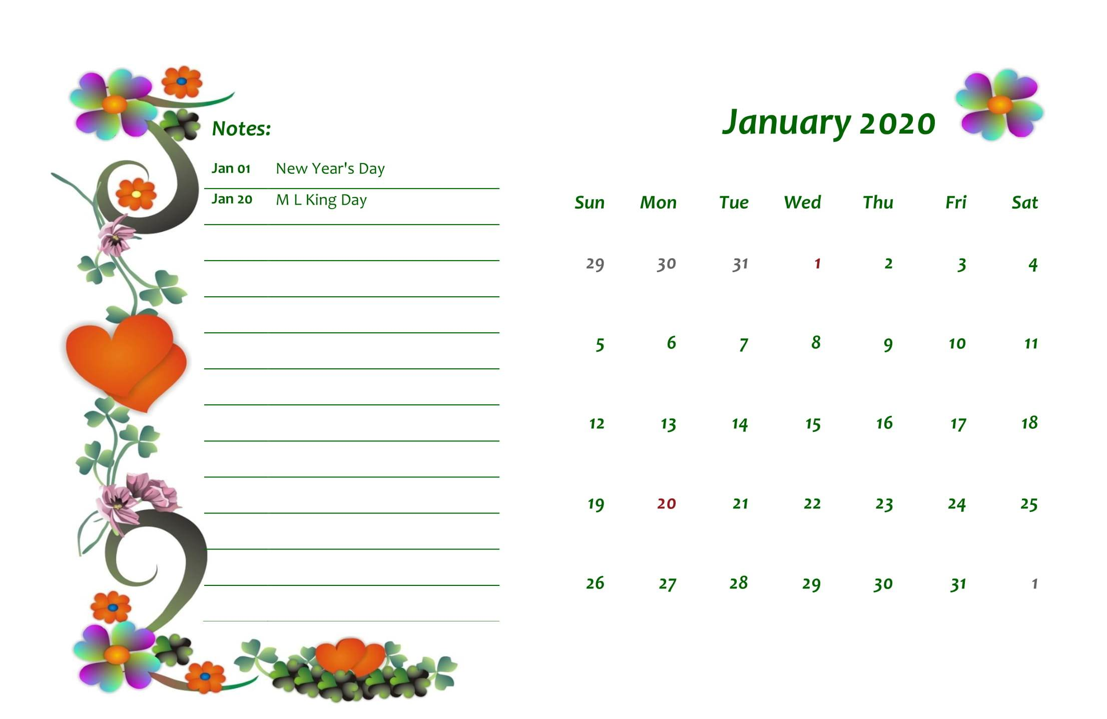 Cute January 2020 Calendar Design