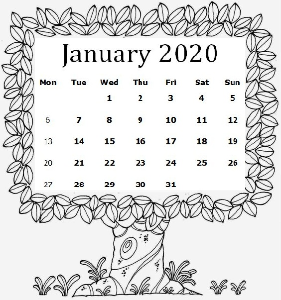 Cute January 2020 Calendar For Students