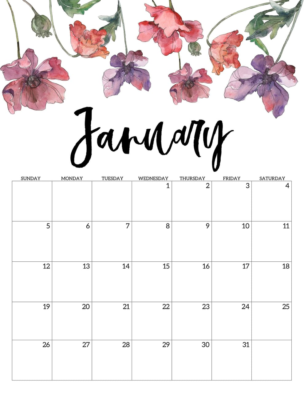 Cute January 2020 Floral Wall Calendar