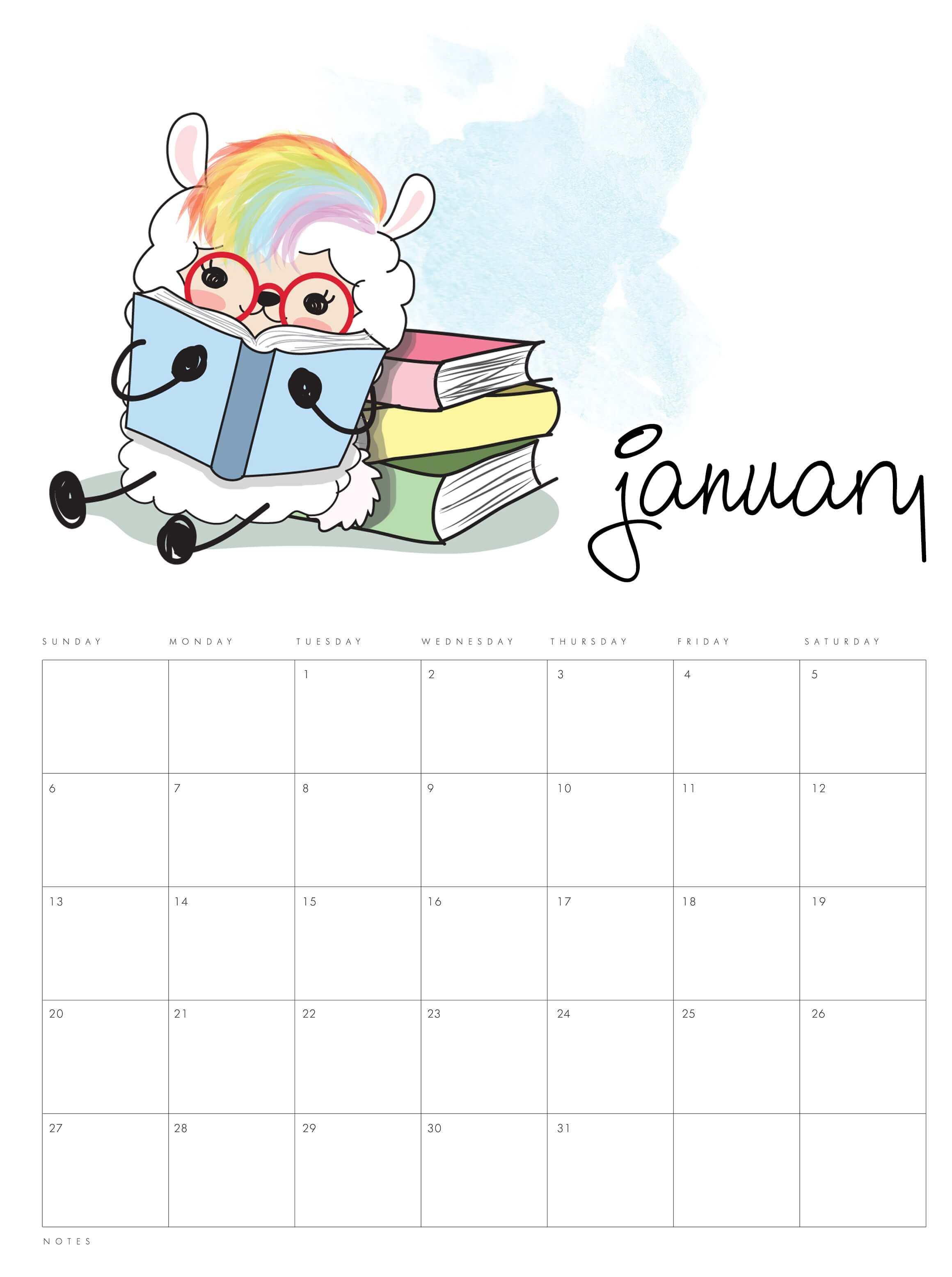 Cute January 2020 Wall Calendar
