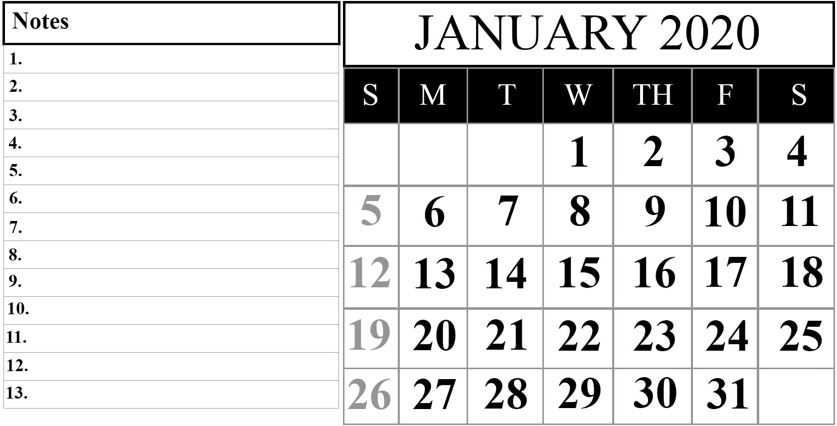 Free January 2020 Blank Calendar Template