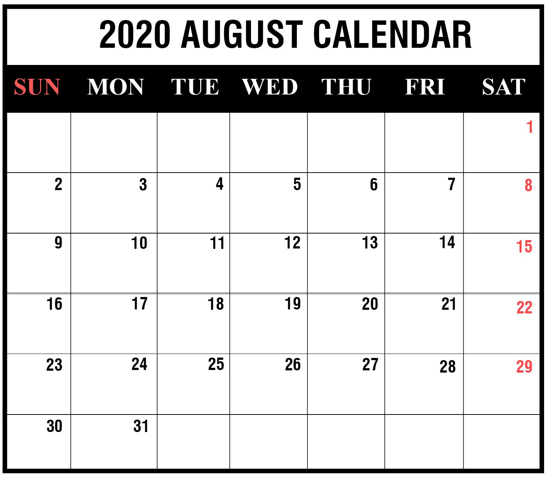2020 August Editable Calendar