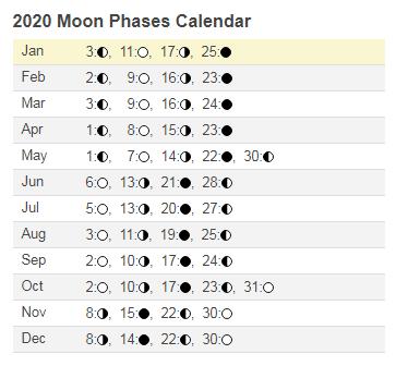 2020 Moon Phases Calendar