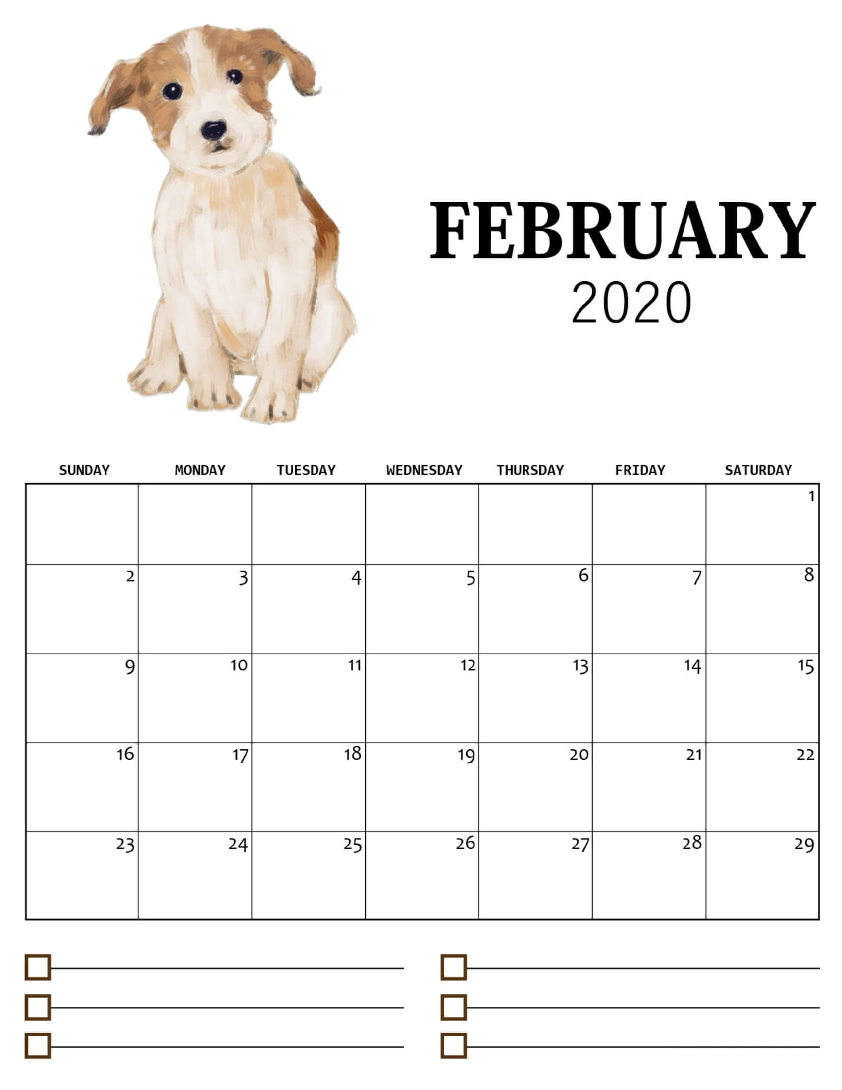 Cute February 2020 Calendar For Kids