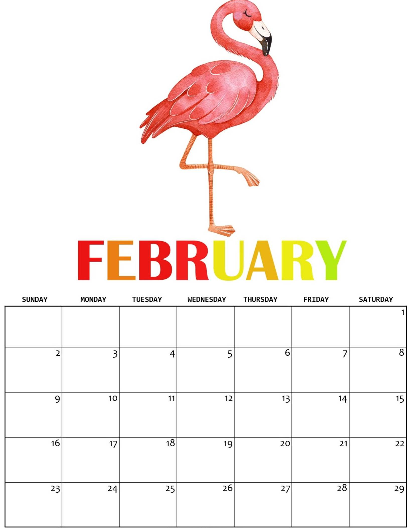 Cute February 2020 Wall Calendar
