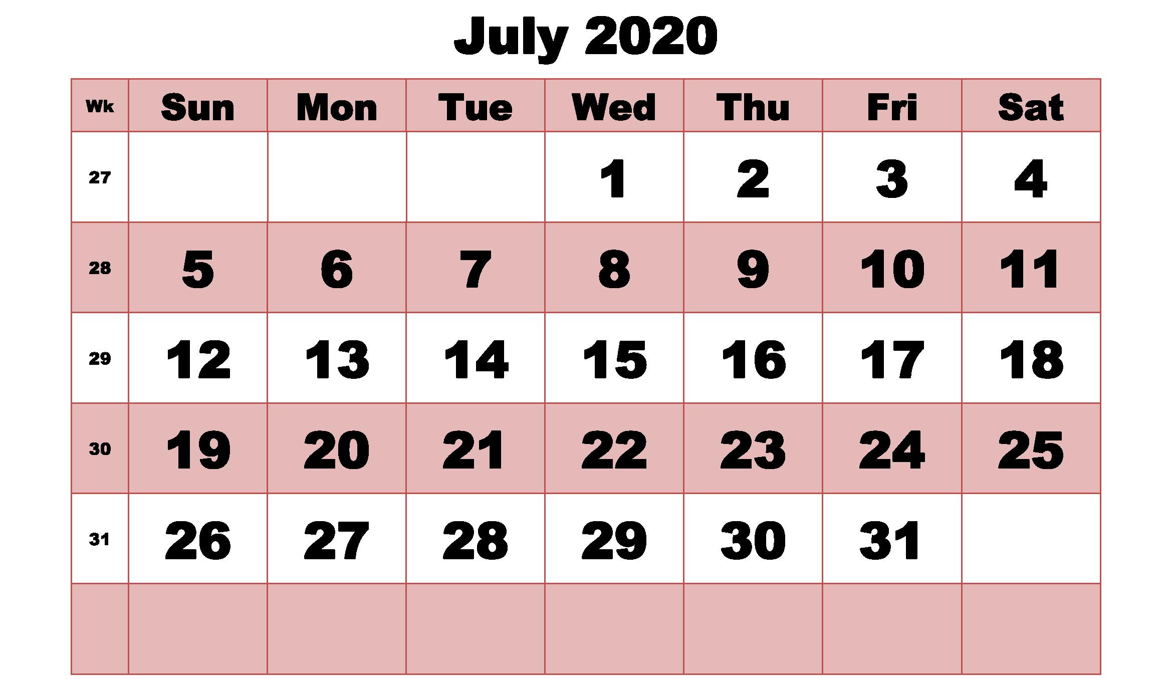Cute July 2020 Calendar Printable