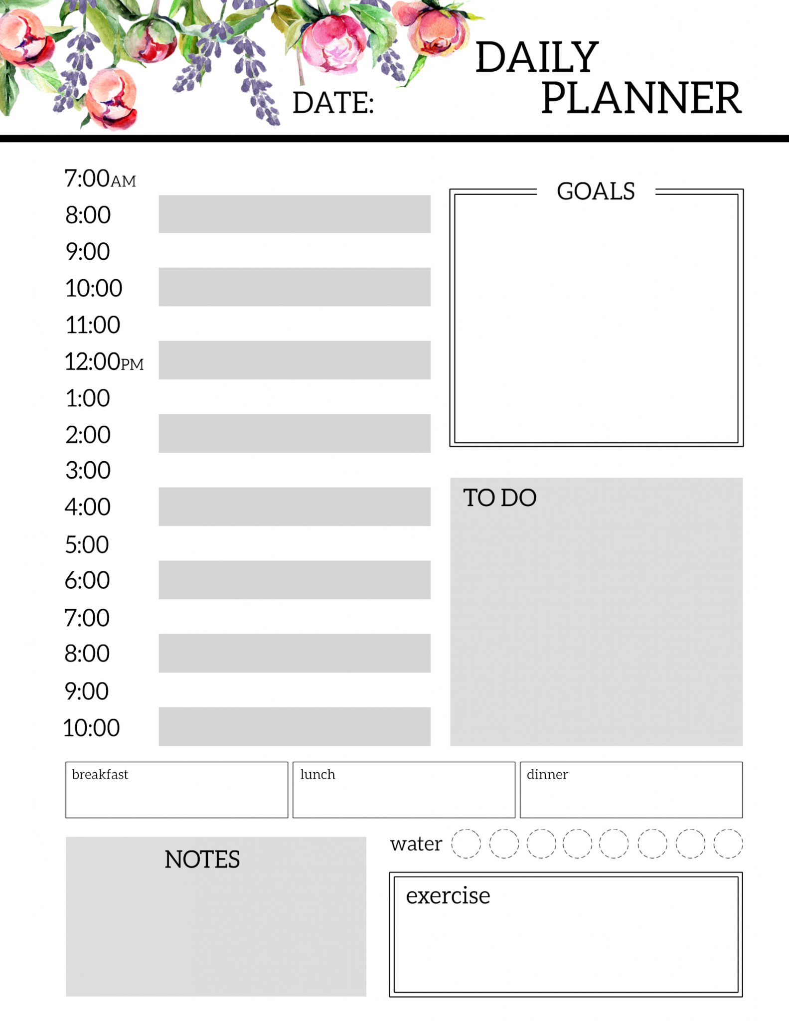 Daily Planner Printable Template