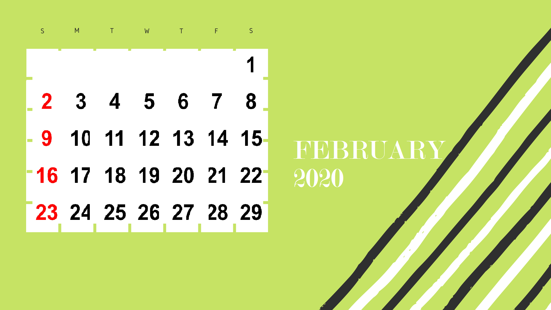 February 2020 HD Calendar Wallpaper