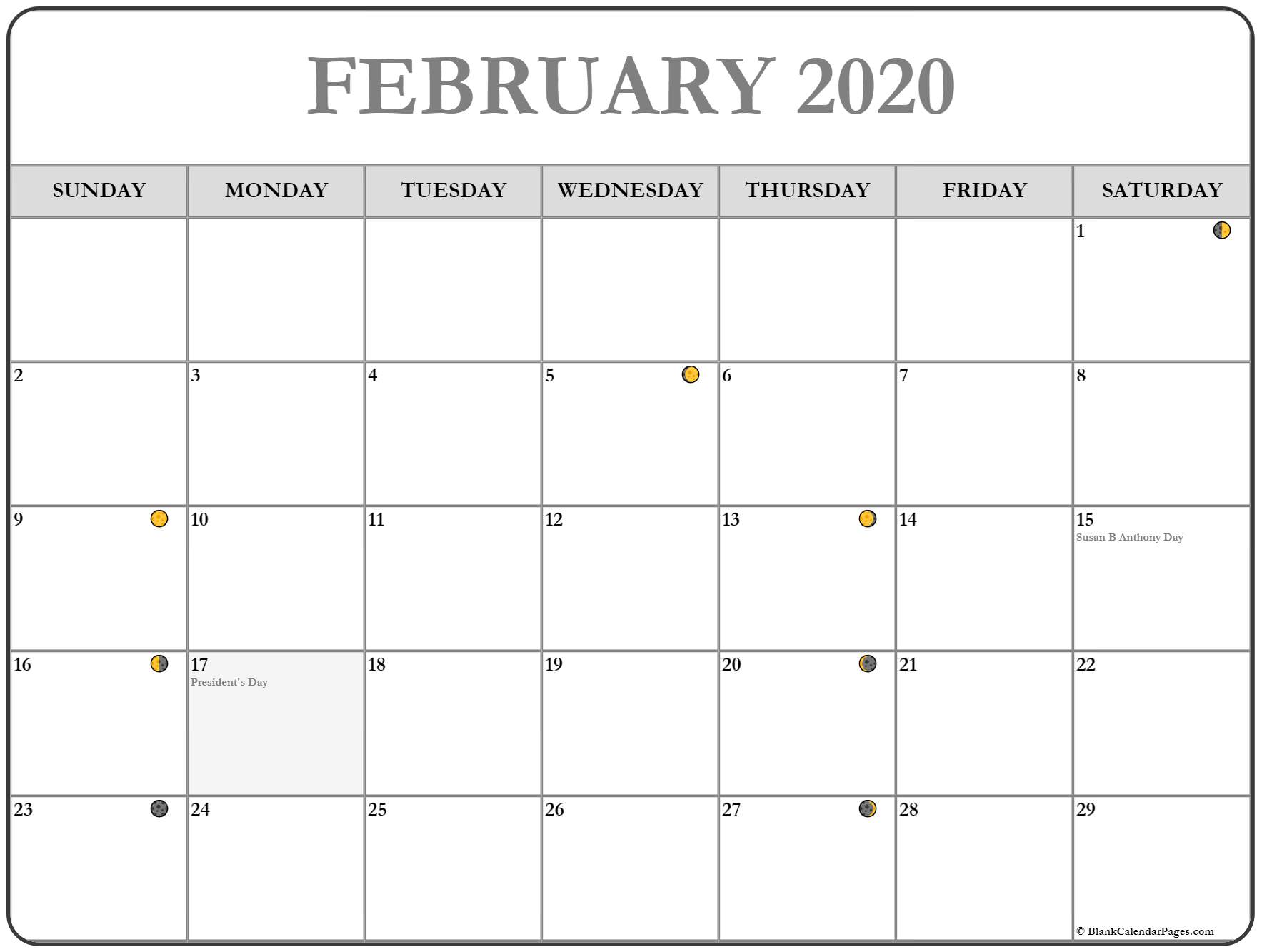 Printable Moon Calendar February 2020