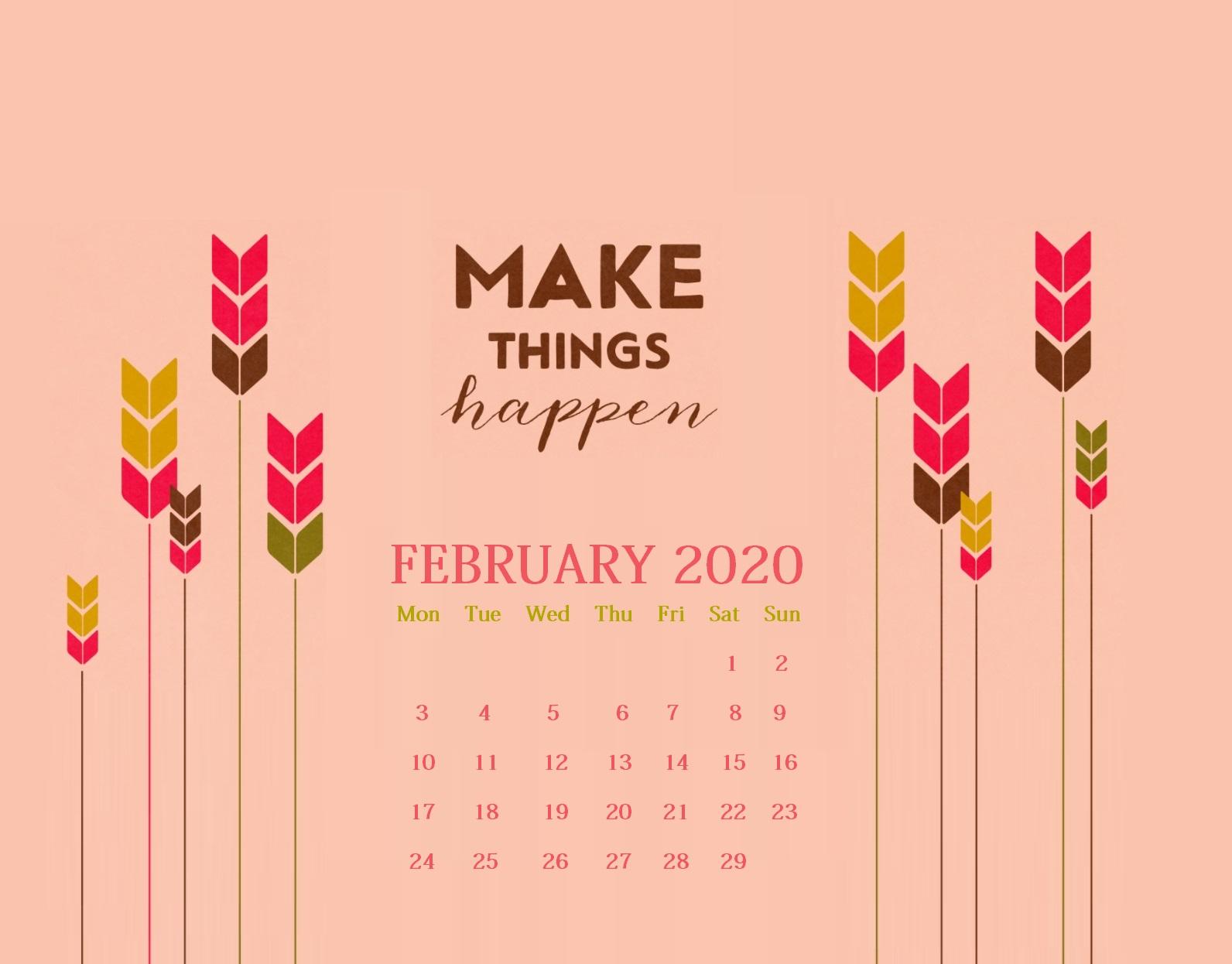 Floral February 2020 Desktop Calendar