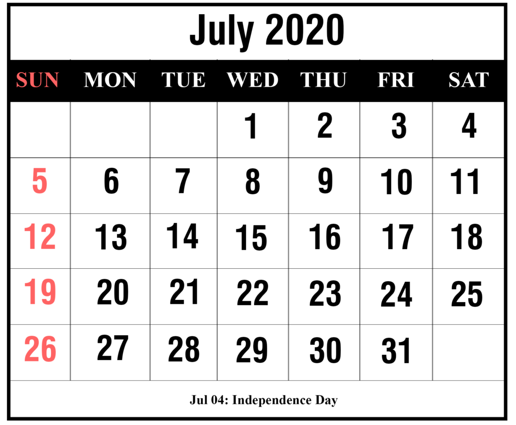 July 2020 Printable Calendar With Holidays
